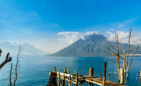 View on Lago Atilan and Volcano San Pedro in Guatemala from San Marco