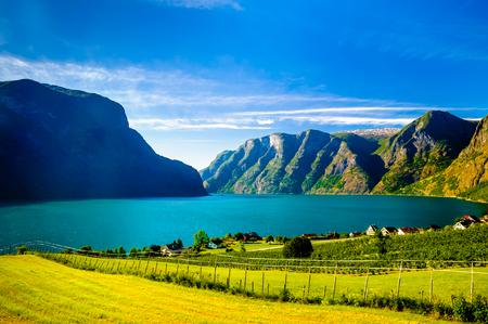 Fjord landscape of Naeroyfjord - Aurlandsfjord in Norway