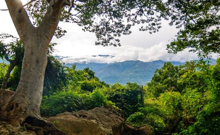 View on mountain landscape by Barichara in Colombia Stock Photo