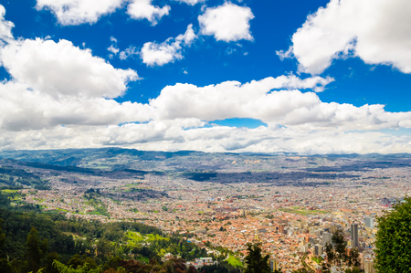 View on cityscape of Bogota from Monserrate in Colombia