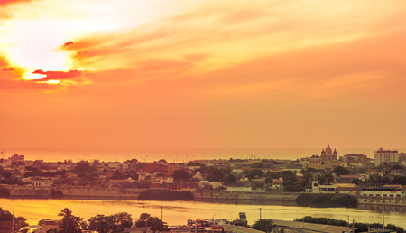 Sunset view over colonial town of Cartagena in Colombia