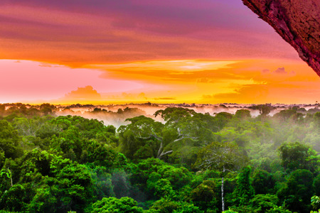 View onpPurple sunset over rainforest by Leticia in Colombia Stock Photo - 77876994