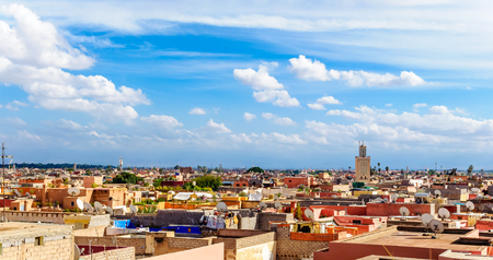 View over the colorful roofs over Marrakesh Banco de Imagens