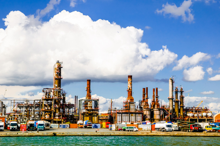 View Refinery in the port of Antwerp Stock Photo