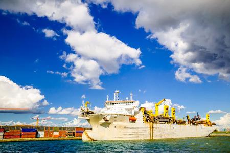 Transport ship in the port of Antwerp in Belgium
