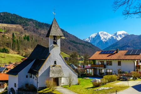 st german: Mountain landscape and church Zum Guten Hirten by Ramsau in Bavaria