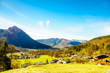st german: View on mountain landscape by Schoneau, Koenigsee in Bavaria