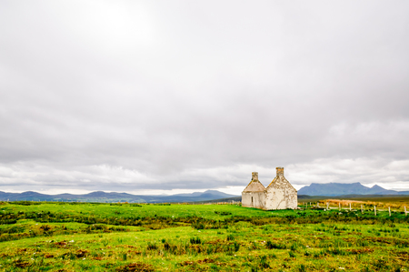 View on house Ruin in remote landscape of Scotland