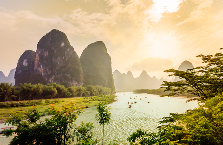 View on Karst landscape and Li river by Yanhsshuo in China a