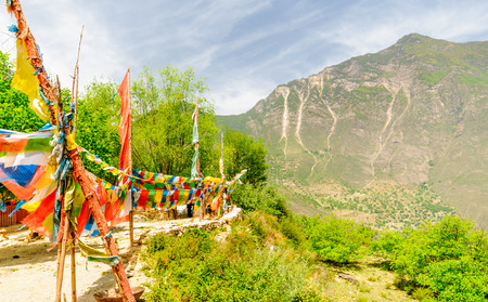 View on Prayer Flags in Tibetian mountains
