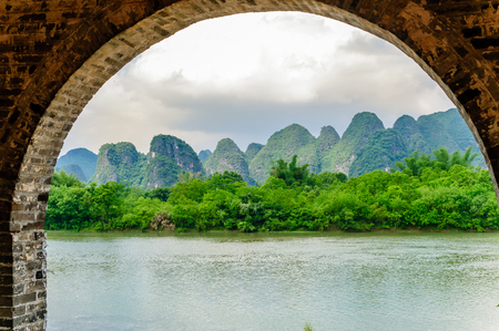 View on Karst landscape and Li river by Yanhshuo in China Stock Photo