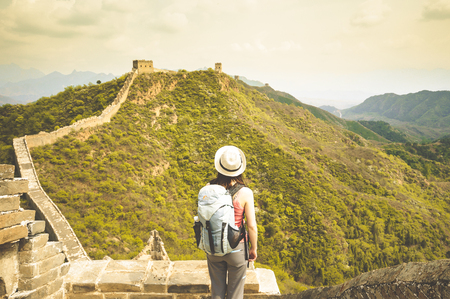 jinshaling: View on female standing on great wall by Jinshaling Stock Photo