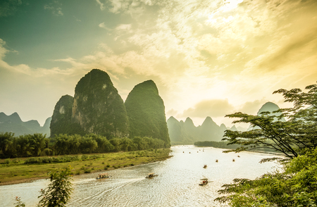 View on Li river by Yangshuo in China