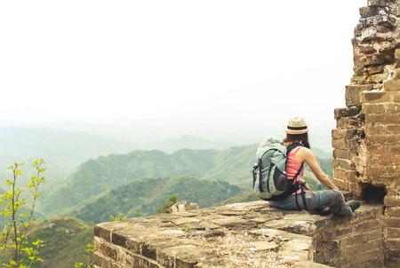 jinshaling: View on Female sitting on great wall by Jinshaling Stock Photo