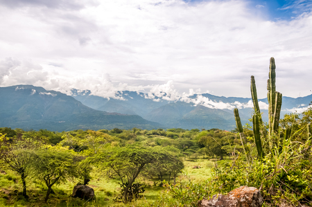 View on mountain landscape in department Santander in the Andes of Colombia