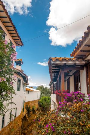 View on Colonial building of Villa de Leyva in Colombia