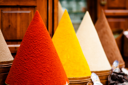 View on Colorful spices on market in Marrakech in Morocco Stock Photo
