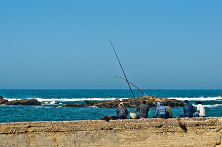 View on fisherman at the port of Essaouira