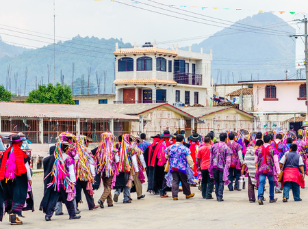 View on Traditional Maya Procession in Zinacantan by San Cristobal de las Casas in Mexico