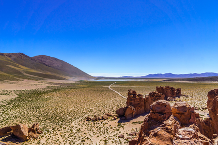 View on siloli Desert in Altiplano of Bolivia by Uyuni Stock Photo