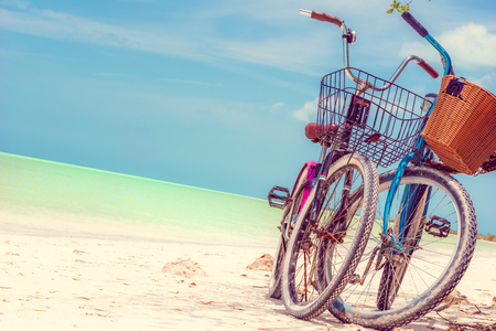 View on bikes on paradies beach of Holbox Island in Yuckatan - Mexico
