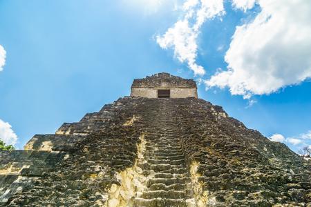 View on ruin of Maya paramid in Tikal - Guatemala