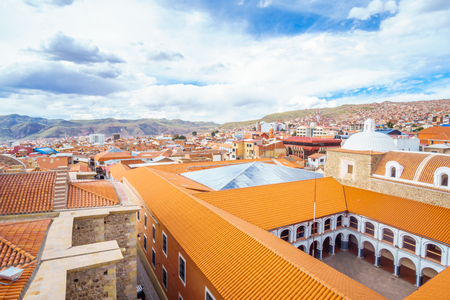 View on cityscape of colonial tow of Potosi - Colegio Nacional Pichincha - Bolivia Stock Photo