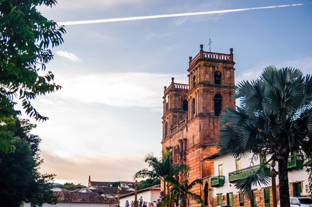typical: View on cathedral of Barichara in Colombia Stock Photo