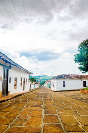 View on colonial buidlings in the streets of Barichara - Colombia Stock fotó