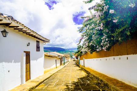 typical: View on colonial buidlings in the streets of Barichara - Colombia Stock Photo
