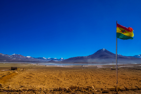 avaroa: View on Bolivian Flag by the border to Chile in the Andes