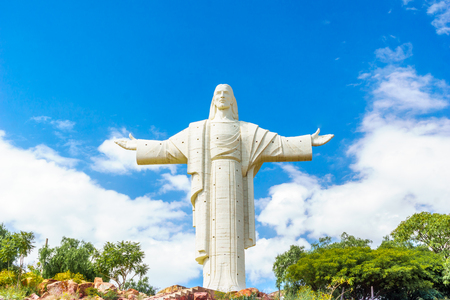 View on world largest Jesus Christ statue in Cochabamba Stock Photo