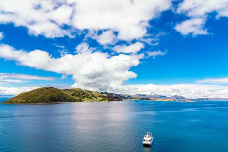bolivian: View on Lake Titicaca landscape from isla de Sol in Bolivia Stock Photo