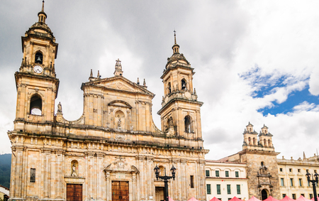 View on cathedral Primatial by Bolivar square in Bogota - Colombia Stock Photo