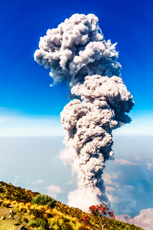 View on eruption on volcano Santiaguito from Santa Maria in Guatemala