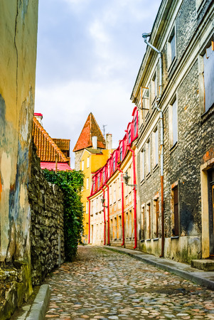 View on alley with historical buildings in Tallinn - Estonia Stock Photo