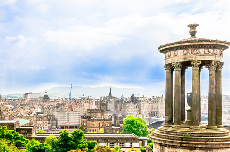View on Cityscape of Edinburgh from Calton hill Stock Photo