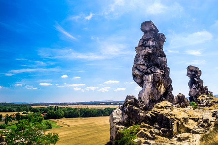 Sand stone rock Teufelsmauer by Neinstedt in Germany 스톡 콘텐츠