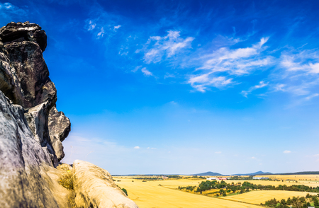 Sand stone rock Teufelsmauer by Neinstedt in Germany Stock Photo