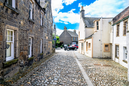 Viewn on Alley with historical buildings in Culross Scotland