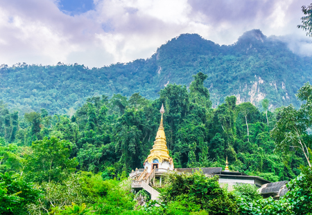 View on Wat Tham Pha Plong temple in the jungle by Chiang dao - Thailand