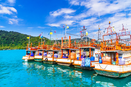 View on fishing boats by Koh Kood Island - Thailand