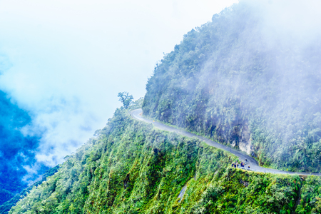 View on foggy death road in the Yungas in Bolivia