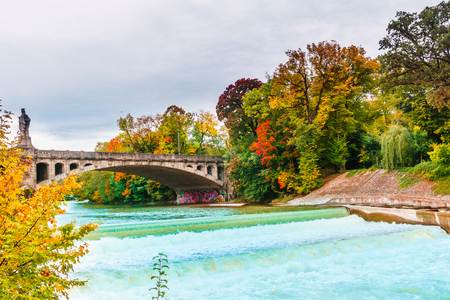 View on autumn landscape by Isar river in Munich