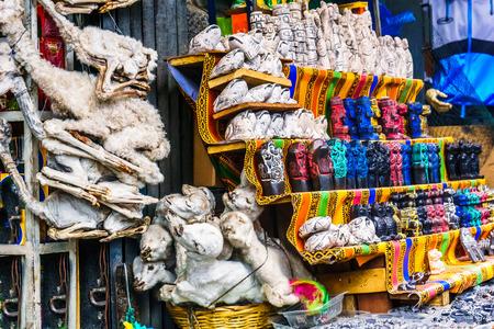 View on wichcraft market with llama fetus in La Paz - Bolivia