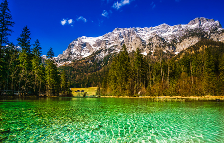 Aerial view of lake Hintersee in the bavarian alps - Germany Stock Photo