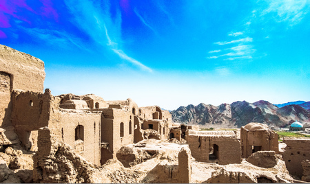 Panoramic view over abonded ghost town of Kharanaq in Iran