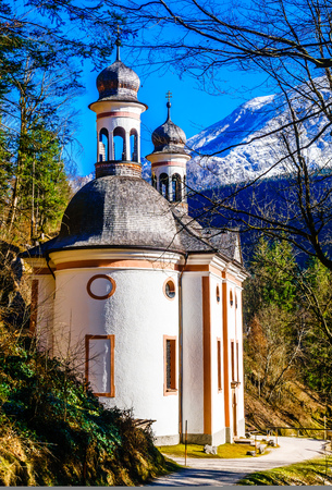 View on pilgrimage church Maria ascension in the bavarian alps - Germany Banque d'images