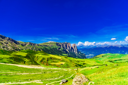 Panoramic view over Schlern mountain in South Tyrol - Italy