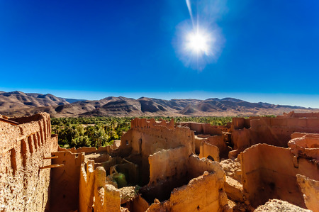 View on Kasbah Caids and palm agrden next to Tamnougalt in Draa valley - Morocco
